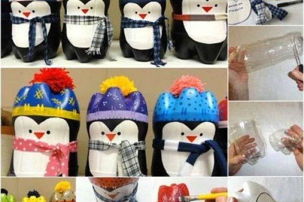Pingouin en bouteille plastique