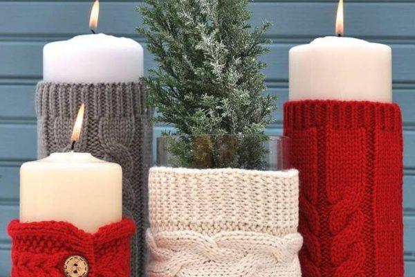 Pulls en laine pour pots et bougies